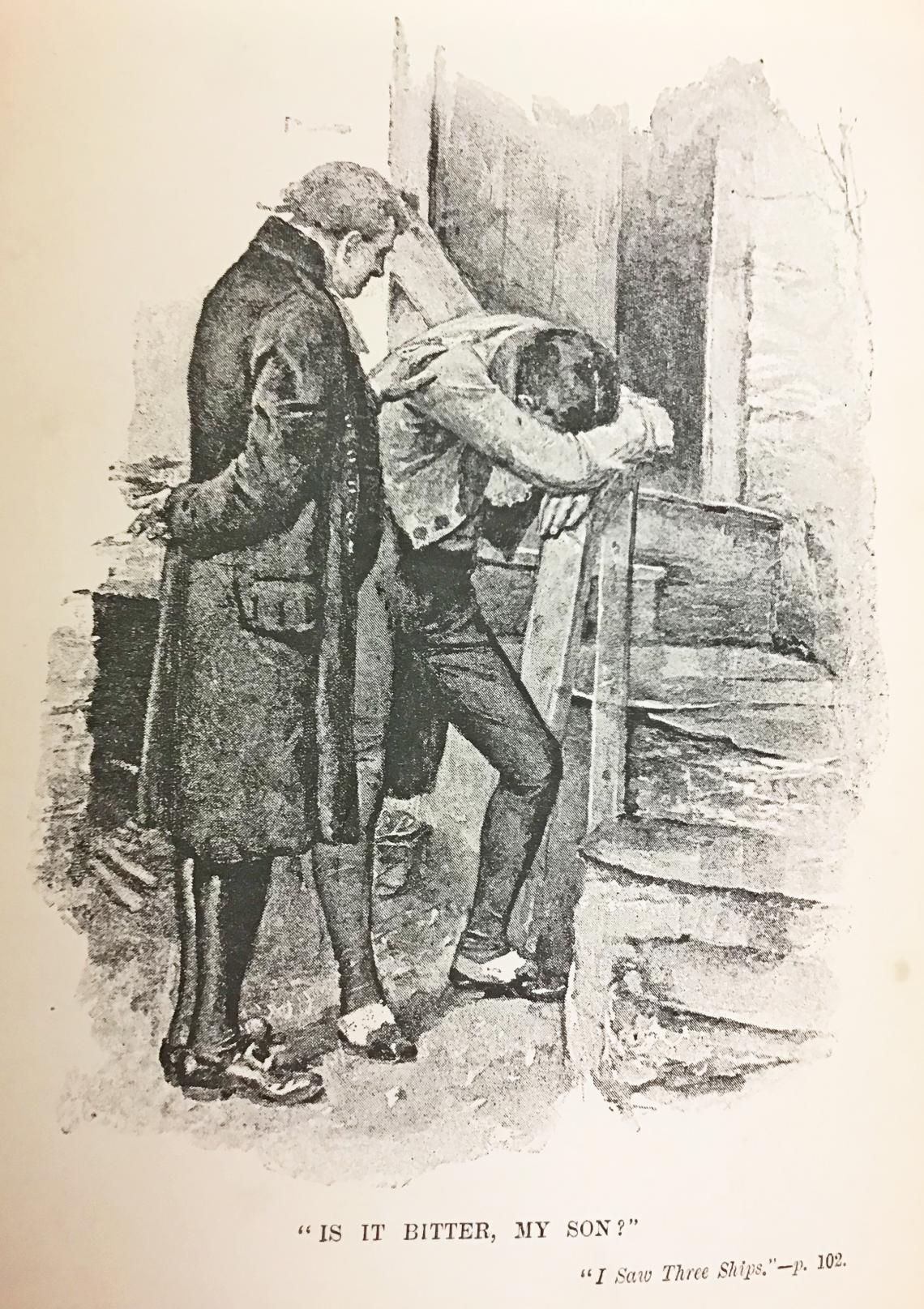 Illustration of an older man talking to a younger man who appears in distress